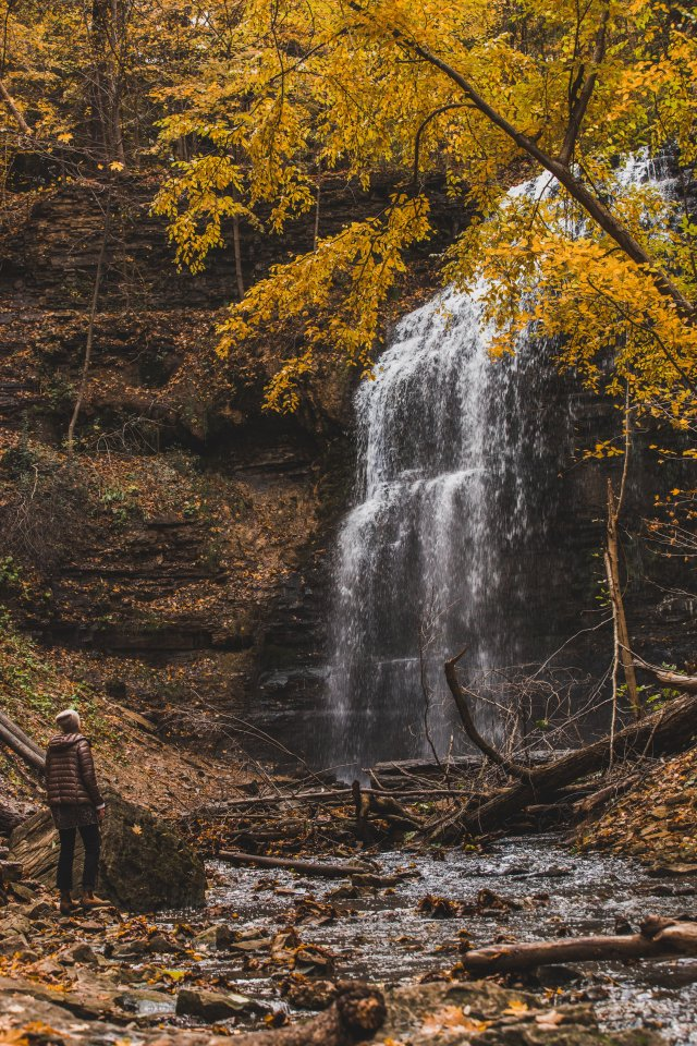 Waterfall & Hiker in Fall
